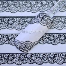 Hot Selling New 3D Black Lace Flower Design Nail Art Stickers Decals For Nail Tips Decoration Tool Drop Shipping NA-00829\ru