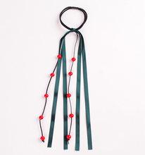 Women Girls Kids Stretchy Elastic Long Strap Lace Pearl Rhinestone Hair Ties Robe Ponytail Holder Bun Scrunchies(China)