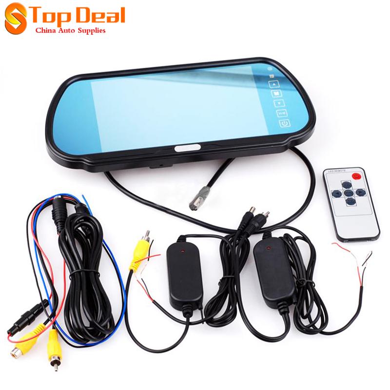"Hotsale 7"" LCD Screen Car Rear View Backup Mirror Monitor + IR Reverse Wireless Camera Kit(China (Mainland))"