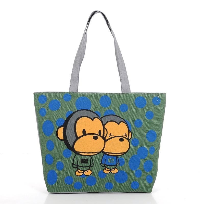 fashion canvas bag handbag women's handbag 2014 monkey printed shoulder bags tote TD-23(China (Mainland))