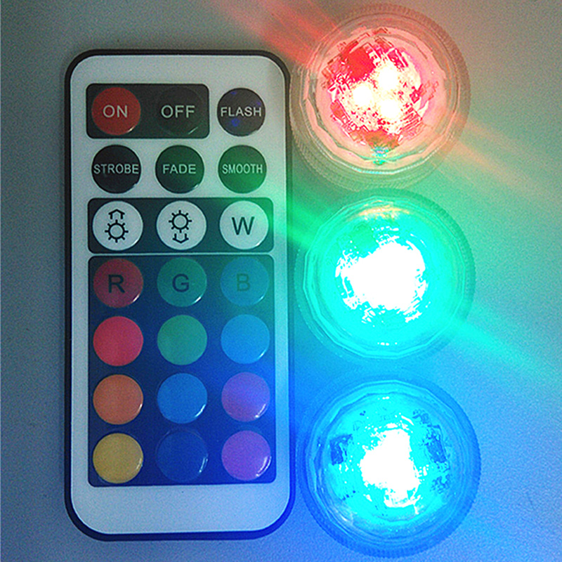 10pcs Wedding Decoration Remote Control Waterproof Submersible LED Party Tea Mini LED Light With Battery For Halloween Christmas(China (Mainland))