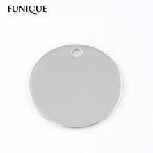 FUNIQUE 10PCs 30mm Dia Round Stainless Steel Dog Tags Pendants Stamping Blanks For Necklaces Jewelry Making DIY Silver Tone(China (Mainland))