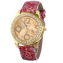 Yoner Relogio Feminino Luxury Brand Women Dress Watches PU Leather Stainless Steel Quartz Watch Diamonds