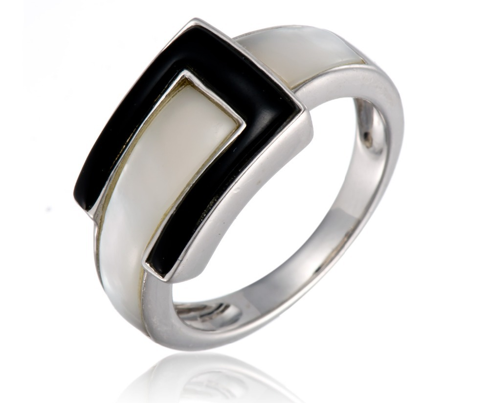 fashion white shell and black agate solid sterling silver