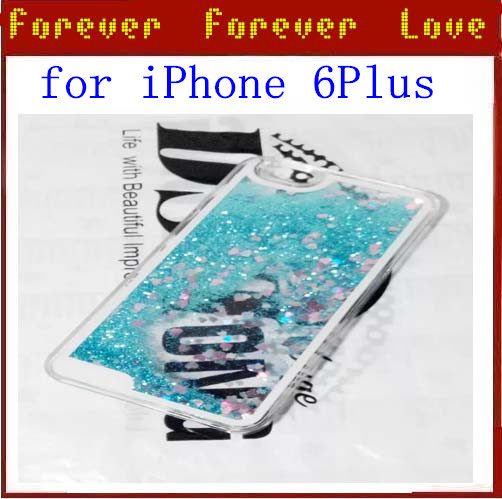 1PCS Colorful Heart Chip Liquid sand Protective Case Cover For iPhone 6 plus Free Shipping(China (Mainland))