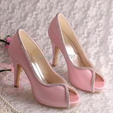 Wedopus MW1348 Pink Satin Wedding Shoes High Heel Ladies Peep Toe Heels(China (Mainland))