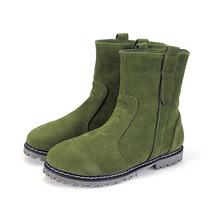 Mujeres de la nieve botas zapatos con Fur Warn para mujer otoño invierno botas planas zapatos de cuero de imitación ventas al por mayor zapatos de las mujeres(China (Mainland))