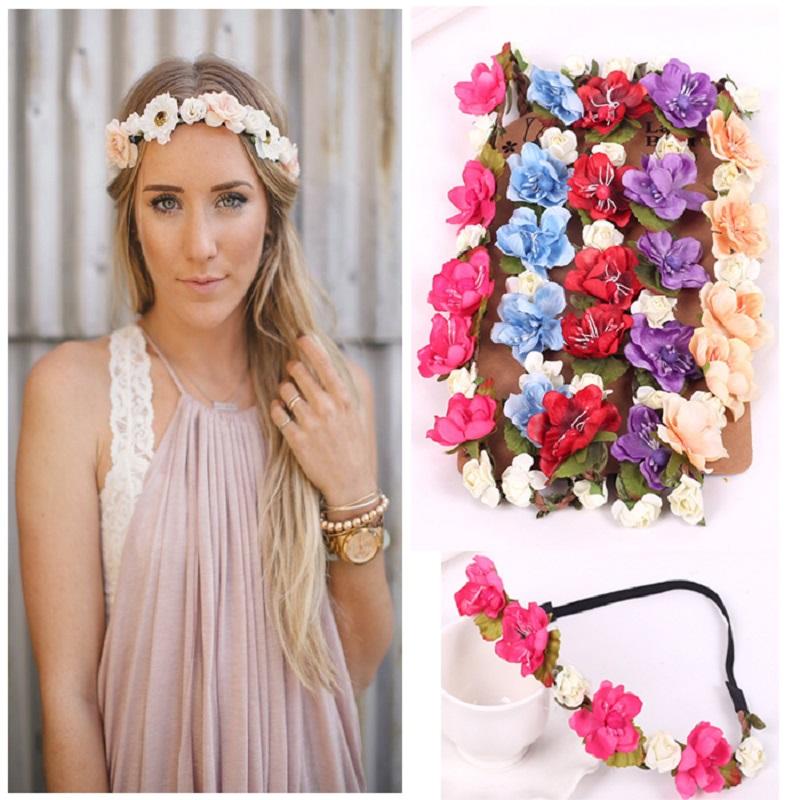 Women Bohemian Flower Headband Handmade Floral Crown Hairband Party Wedding Wreath Bridal Headdress Elastic Hair Accessories(China (Mainland))