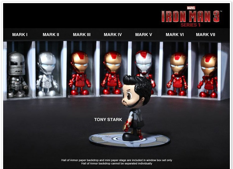Free Shipping Hot Toys Marvel Iron Man 3 MK1-7 PVC Action Figures Toys set of 8 D84(China (Mainland))