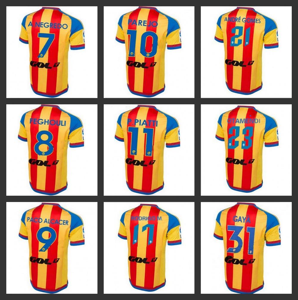 Hot sale Soccer Jersey Valencia 1516 Away Orange Valencia Jersey 2016 Valencia CF 15/16 Home White Football Shirt Free shipping(China (Mainland))