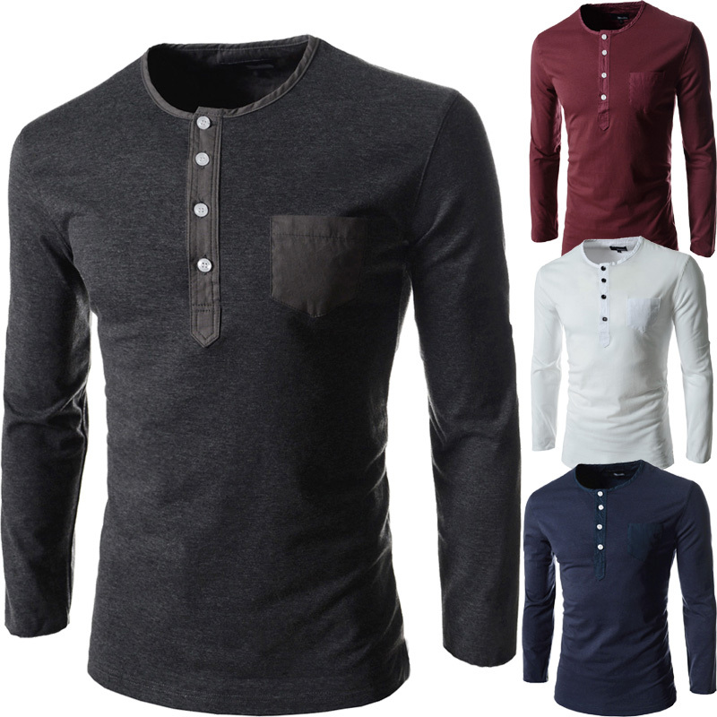 Hot new spring 2015 men's long-sleeved round neck collar Slim solid fashion high quality brand polo shirt M ~ XXL 5511(China (Mainland))
