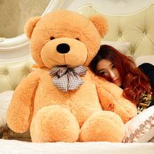 big plush lovely light brown teddy bear toy big eyes bow bear toy stuffed teddy bear gift 140cm
