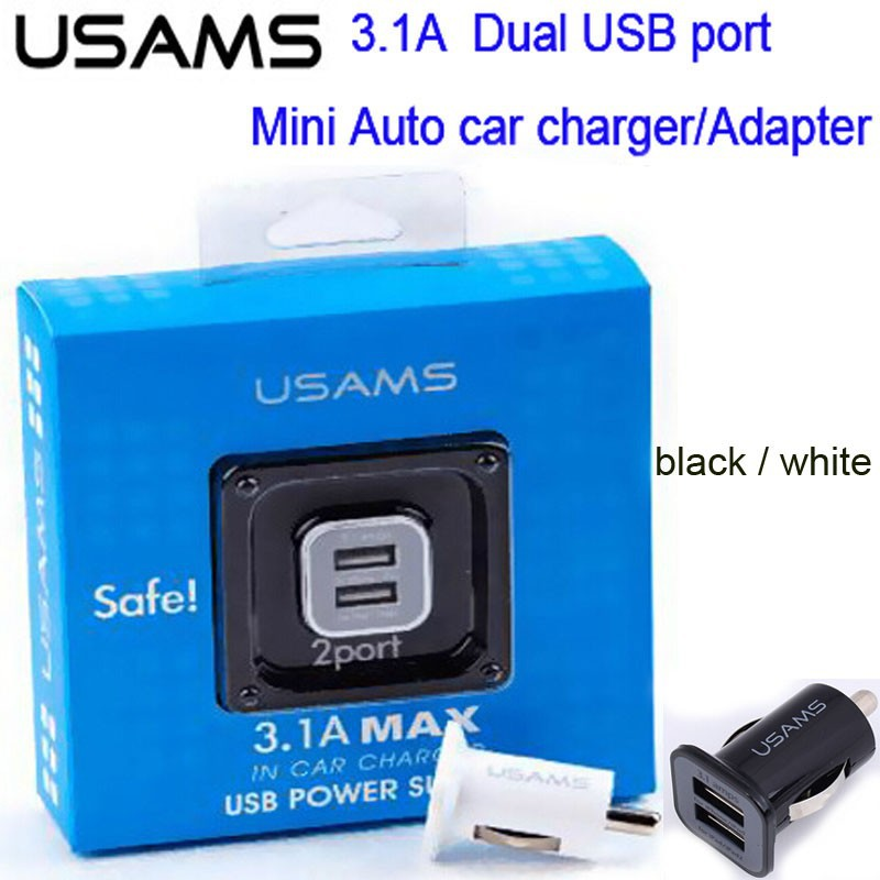 Retail pack 10pcs/lot 3.1A Dual 2 USB Port Car Charger for ipad iPhone 6 HTC Samsung Galaxy S3 S4 mini Auto car adapter