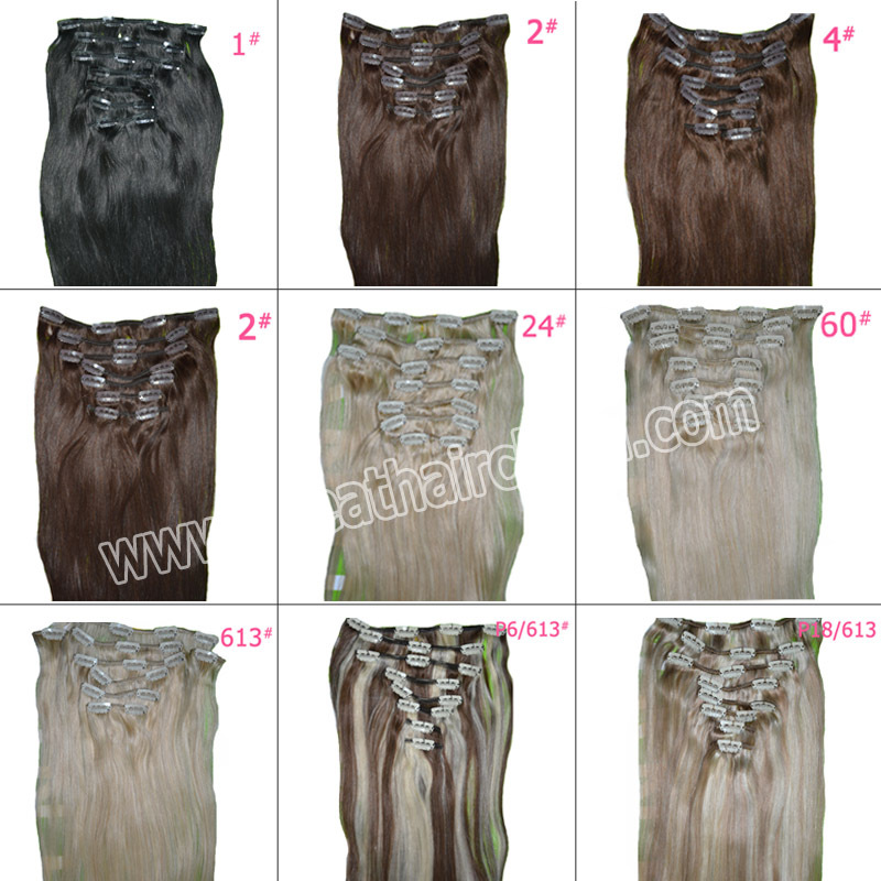 """Free Shipping 24"""" Blonde Clip in Hair Extension 115 Grams 8 Pieces/set Straight Dark Brown Natural Remi Hair Clip ins(China (Mainland))"""
