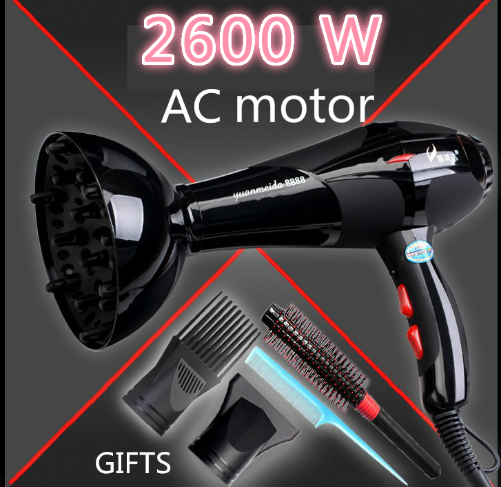 1pcs/lot 2600w high power Hair dryer machine professional household hair dryer negative ion hair styling tools