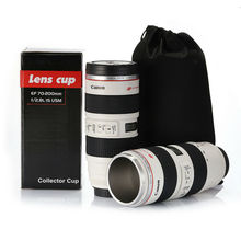 Simulation Camera Len Mug Stainless Steel Lens Cup Special Lid Canon Camera Lens Coffee Mug Cup With Carry Pouch(China (Mainland))