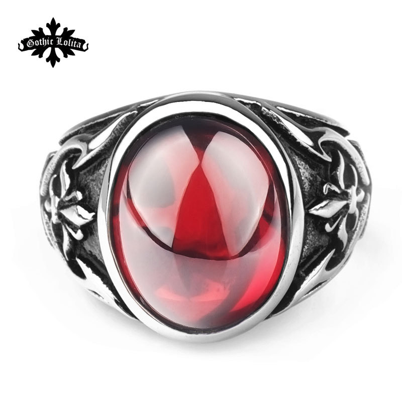 Designer Thumb Fashion vintage royal ruby crusaders anchor anel masculino finger ring gothic punk Stainless Steel ring for men(China (Mainland))