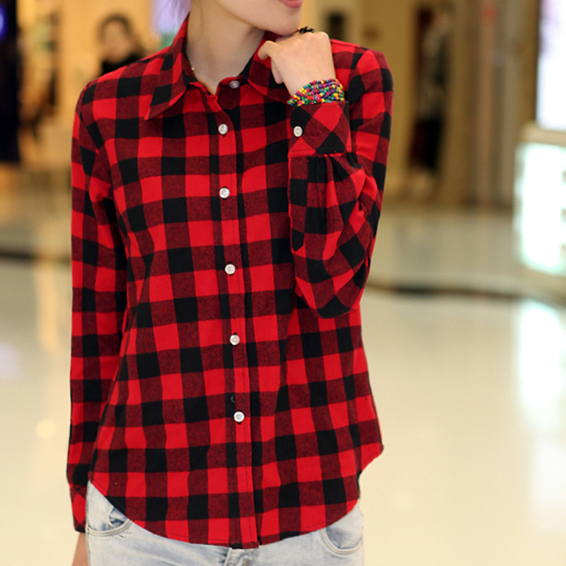 2015 red black plaid shirt women classic button lapel long Womens red tartan plaid shirt