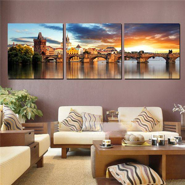 (Unframed)Home Decor Modern Paintings The River Vltava Landscape Canvas Painting European Traditional Building Modular Pictures(China (Mainland))