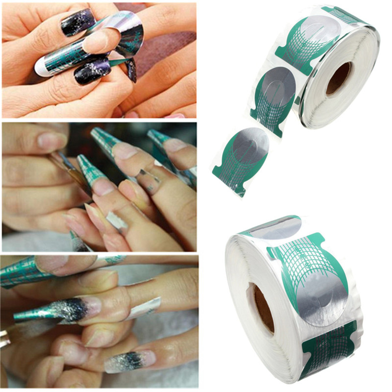 500pcs/roll Nails Extension Form Green Horseshoe Shape Nail Art Tip Roll Acrylic DIY Tools Curve Gel Guide Stickers