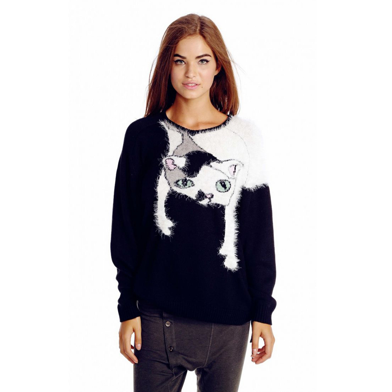 Fashion Women Sweaters and Pullovers 2015 Autumn New Knitted Pullover Slim Shaggy Knits Cat Spliced Sweater Long Sleeve Jumper(China (Mainland))