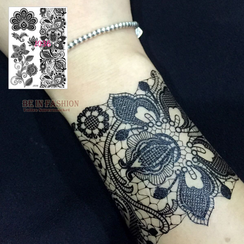 Buy 1pc black white henna lace tattoo for White lace tattoo