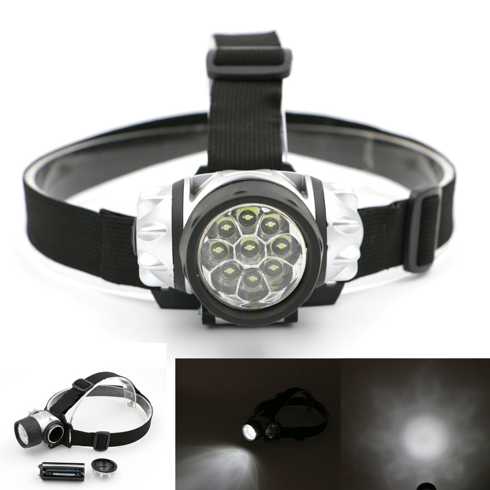1pcs Mini 9 LED headlamp head light good quality 2 Models bike headlight head lamp led torch flashlight Free Shipping(China (Mainland))