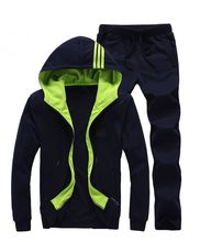 2015 New Fashion Men's Cotton Fitness Workout GYM Running Sets 1 PCS Jackets+1 PCS Pants Good Quality Hoodies Casual Wear