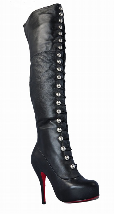 Free shipping,Hot sales,Sheepskin silver button 21 buckle boots genuine leather knee-length boots high heels red sole shoes(China (Mainland))