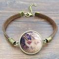 Wholesale Cute Deer Glass Picture leathers Bracelets for Women Vintage Brown Rope Charm Bracelet Men