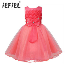 Flower Girl Dress Wedding Bridesmaid Birthday Party Pageant Princess Formal Dress Sequins Bow Baby Toddler Kids Tulle Tutu Dress(China (Mainland))