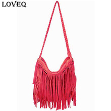 New 2015 Fashion Shoulder Bag Vintage Tassel Cross Body Bag Women Messenger Bags Popular Handbag Handbags