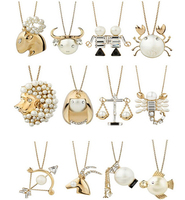 [Min. 6$] Brand Product The Twelve Zodiac Horoscope Signs ,12 Constellations Fashion Golden Pearl Gem Pendant Necklace N360