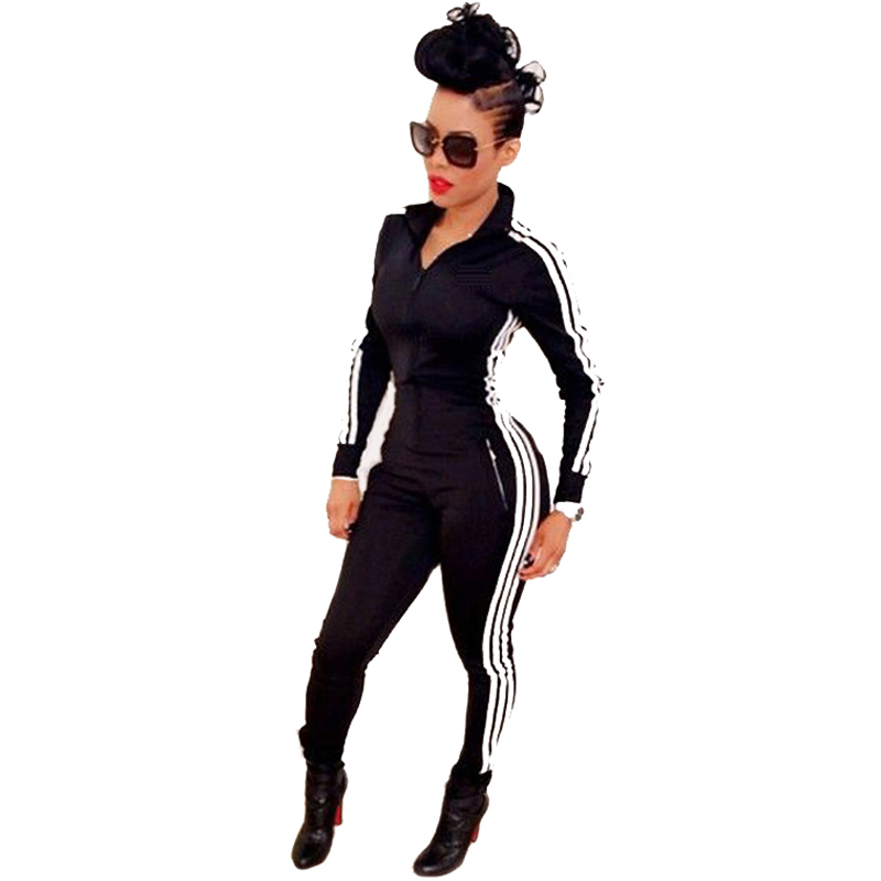 New Women Jumpsuits Rompers 2015 Fashion Ladies Long Sleeve Sport Wear Playsuits Athletic Black Zipper Bodysuit Overalls macacao(China (Mainland))
