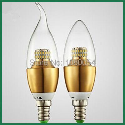 e14 led candle light 7w bulb 3014SMD AC110V 220V 230V 240V 360 Beam Angle Golden aluminum shell