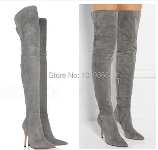 Wholesale suede boot high heel slim thigh high boots grey brown black red knee tall boot big size 43 44 45(China (Mainland))