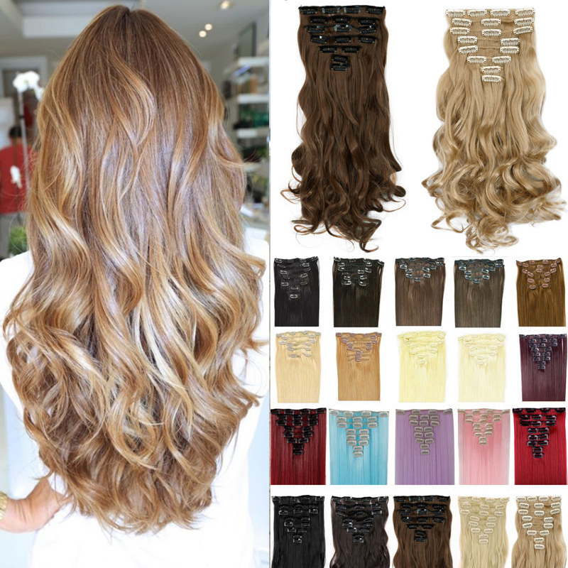 17inch 170g Curly Clip On Natural Hair Synthetic Hair Styling Clip in Hair Extensions 8 Piece Blonde Hair Piece(China (Mainland))