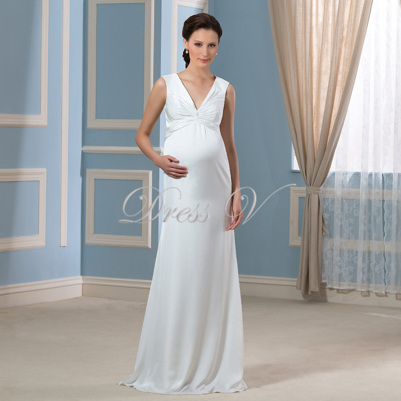 2016 Elegant Maternity Wedding Dress for Pregnant Deep V ...