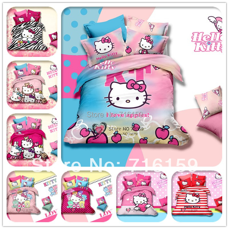 2014 3D bedding set 4pcs 100 cotton hello kitty queen king