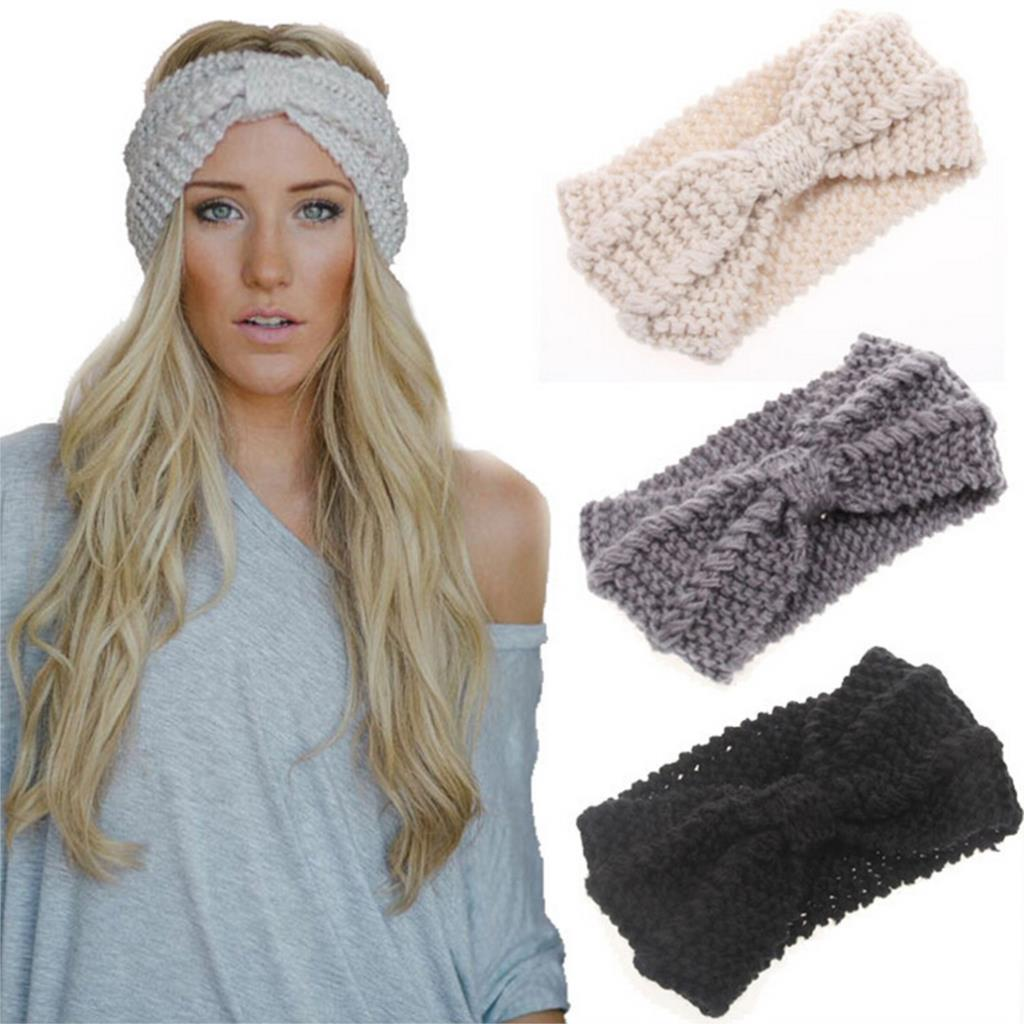 New Fashion Women Hair Accessories Headband Bow Knot Crochet Knitted Hairband Wide Headwear Warmer Solid Color(China (Mainland))