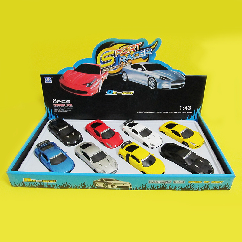 New 8Pcs dinky toys Car Cute metal Toy Cars For Child Mini pull back music Light Car 1:43 Model Kids Toys For Boys 896-5(China (Mainland))