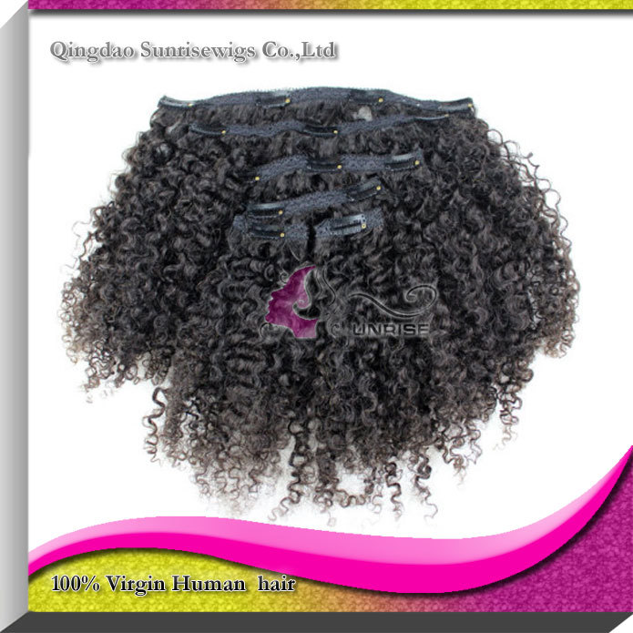 clips afro kinky curly hair extensions, price unprocessed 6A grade peruvian virgin - Sunrisewigs Virgin Hair--Factory Supplier store