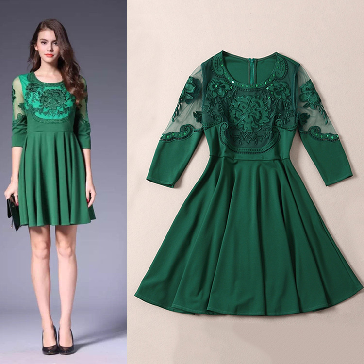 2015 autumn embroidery beading gauze perspective three quarter sleeve womens one-piece dress brand designer dress luxury dressОдежда и ак�е��уары<br><br><br>Aliexpress