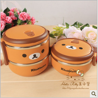 Two layer Relax Bear heat preservation Stainless Steel Lunch box Rilakkuma Bento For Students or Workers 15*14cm(China (Mainland))
