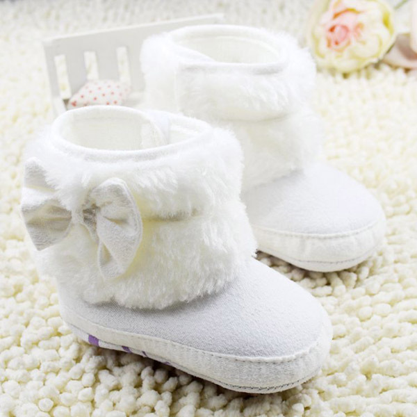 Baby Girls Winter Snow Boots NWT Infant Solid Bowknot Shoes Prewalker 0-18 Months Baby LD(China (Mainland))