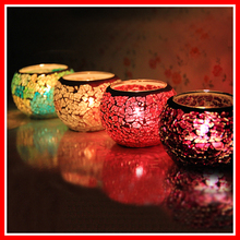 New Handmade Mosaic Tealight Glass Candle Lantern Holder For Bar Coffee Shop Home Wedding Date Dinner Party Spa Decoration Gift(China (Mainland))