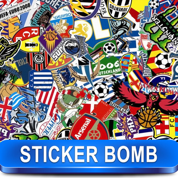 Stickerbomb Vinyl Wrapping Car Sheet Film football brand  design / Best Non-Pixelated print / Size: 1.5 x 30 Meter / k-30