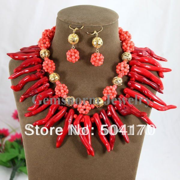 Fabulous Red Coral Beads Jewelry Set Gothic Coral Necklace/Earrings Set Party Jewelry Set 2014 Hot Free Shpping CNR050(China (Mainland))