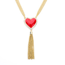 Boho Chic Long Alloy Tassel Red Resin Heart Pendant Necklace Wholesale Turkish Jewelry Brand Birthday Gift My Orders(China (Mainland))
