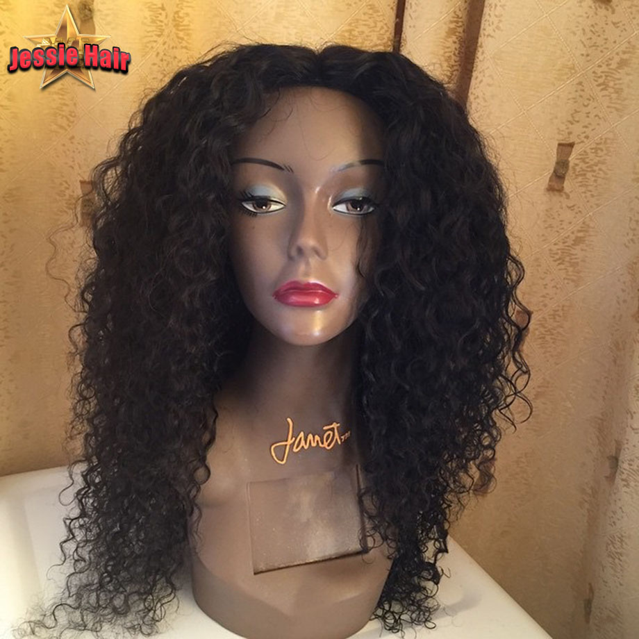 Glueless Full Lace Human Hair Wigs Black Women Brazilian Virgin Kinky Curly Front Wig,Lace - Jessie Products store